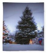 Outdoor Christmas Tree Fleece Blanket
