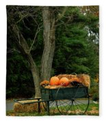Outdoor Fall Halloween Decorations Fleece Blanket