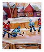 Outdoor Rink Hockey Game In The Village Hockey Art Canadian Landscape Scenes Carole Spandau Fleece Blanket