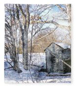 Outhouse In Winter Fleece Blanket
