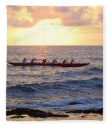 Outrigger Canoe At Sunset In Kailua Kona Fleece Blanket