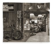 Outside The Old Motorcycle Shop - Spia Fleece Blanket