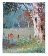 Over The Fence By Jan Matson Fleece Blanket