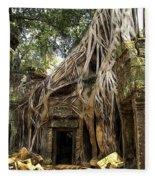 Overgrown Jungle Temple Tree  Fleece Blanket