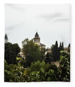 Overlooking The Alhambra On A Rainy Day - Granada - Spain Fleece Blanket
