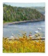 Overlooking The Harbor Fleece Blanket