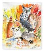 Owl Family In Velez Rubio Fleece Blanket