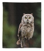 Owl In The Forest Visits Fleece Blanket
