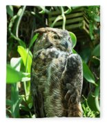 Owl Portrait 2 Fleece Blanket