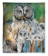 Owl Series - Owl 4 Fleece Blanket