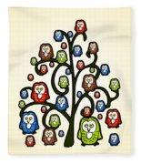Owl Tree Fleece Blanket