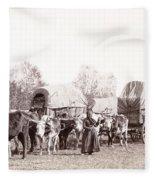 Ox-driven Wagon Freight Train C. 1887 Fleece Blanket