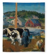 Ox Team. Wharf At Matinicus Fleece Blanket