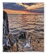 Oyster Bay Stump Sunset Fleece Blanket
