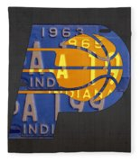 Pacers Basketball Team Logo Vintage Recycled Indiana License Plate Art Fleece Blanket