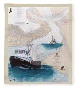 Pacific Dream Crab Fishing Boat Nautical Chart Art Fleece Blanket
