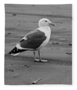 Pacific Seagull In Black And White Fleece Blanket
