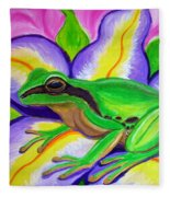 Pacific Tree Frog And Flower Fleece Blanket