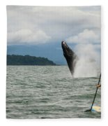 Paddle Boarders And Humpback Whale Fleece Blanket