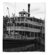 Paddle Boat Black And White Walt Disney World Fleece Blanket