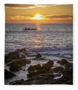 Paddlers At Sunset Portrait Fleece Blanket