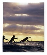 Paddlers Silhouetted Fleece Blanket