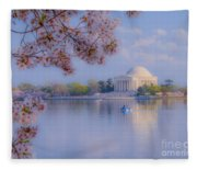 Paddling Past The Blossoms On The Basin Fleece Blanket