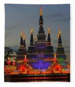 Pagoda Lantern Made With Porcelain Dinnerware At Sunset Fleece Blanket