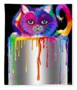 Paint Can Cat Fleece Blanket
