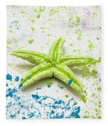 Paint Spattered Star Fish Fleece Blanket