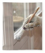 Paintbrush With White Paint In Hand Fleece Blanket