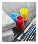 Paintbrushes With Canvas Fleece Blanket