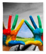Painted Colorful Hands Showing Way To Colorful Happy Life Fleece Blanket