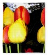 Painted Country Tulips Fleece Blanket