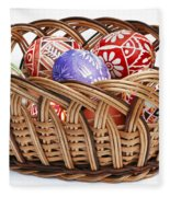 painted Easter Eggs in wicker basket Fleece Blanket