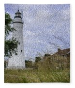 Painted Fort Gratiot Light House Fleece Blanket