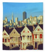 Alamo Square San Francisco - Digital Art Fleece Blanket