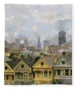 Painted Ladies - San Francisco Fleece Blanket