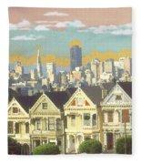 San Francisco Alamo Square - Watercolor Illustration Fleece Blanket