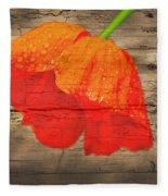 Painted Poppy On Wood Fleece Blanket