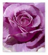 Painted Purple Rose  Fleece Blanket