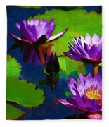 Painted Purple Water Lilies Fleece Blanket