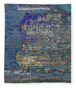 Painted Sign On A Brick Wall Fleece Blanket