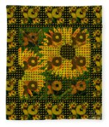 Painted Sunflower Abstract Fleece Blanket