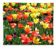Painted Sunlit Tulips Fleece Blanket