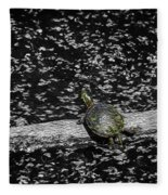 Painted Turtle In A Monochrome World Fleece Blanket