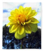 Painted Yellow Dahlia Fleece Blanket
