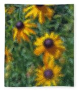 Painterly Flowers Fleece Blanket