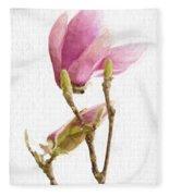 Painterly Pink Magnolia Fleece Blanket