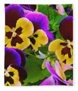 Painterly Purple Pansy Fleece Blanket